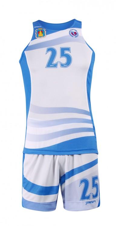 ec18fc3c Бело-голубая баскетбольная форма Фан Спорт БФ-1105 для любительской команды